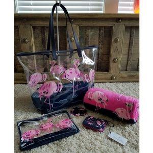 Vera Bradley Flamingo Beach Bundle + Wallet/Mirror